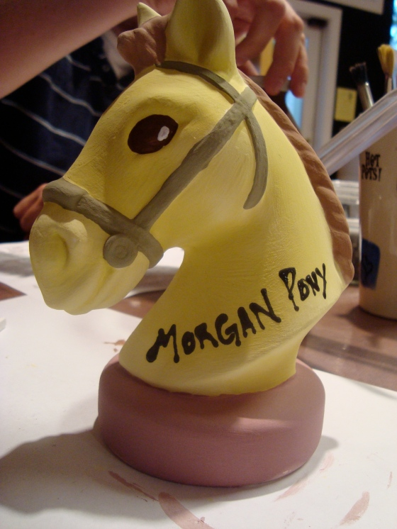 "Pre-fired 70's ""Morgan Pony"" bank"