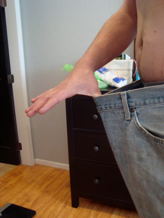 The pants he is wearing in his before shot!