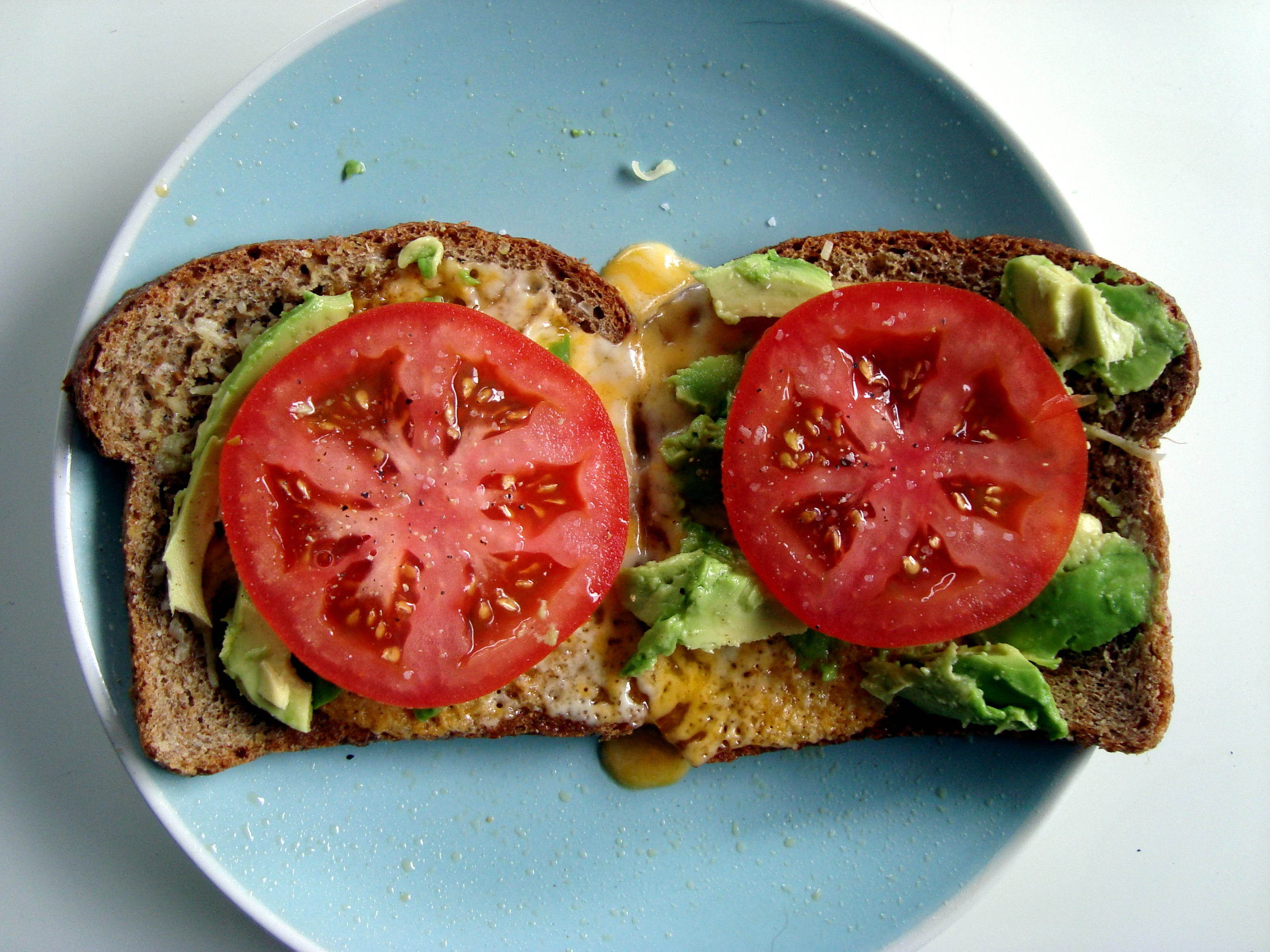 Sauteed Tomato, Avocado, And Parmesan Open Faced Sandwich ...